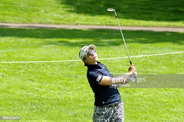 Rikako Morita of Japan hits her approach shot on the 15th hole during the first round of the Nitori Ladies 2016 at the Otaru Country Club on August...
