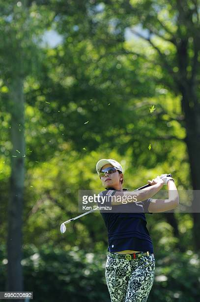 Rikako Morita of Japan hits her second shot on the 10th hole during the first round of the Nitori Ladies 2016 at the Otaru Country Club on August 25...