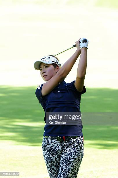 Rikako Morita of Japan hits her second shot on the 11th hole during the first round of the Nitori Ladies 2016 at the Otaru Country Club on August 25...