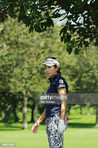 Rikako Morita of Japan hits her second shot on the 13th hole during the first round of the Nitori Ladies 2016 at the Otaru Country Club on August 25...