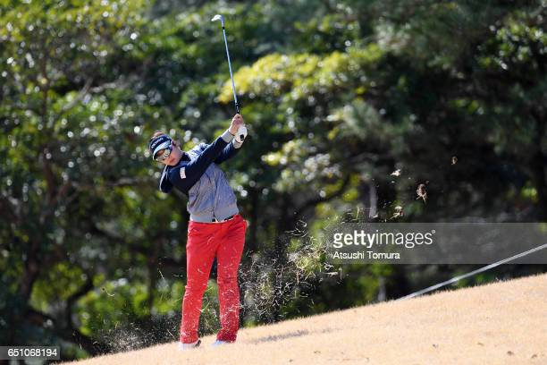 Rikako Morita of Japan hits her second shot on the 1st hole during the first round of the Yokohama Tire PRGR Ladies Cup at the Tosa Country Club on...