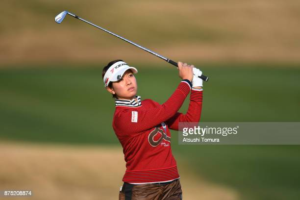 Rikako Morita of Japan hits her second shot on the 1st hole during the second round of the Daio Paper Elleair Ladies Open 2017 at the Elleair Golf...