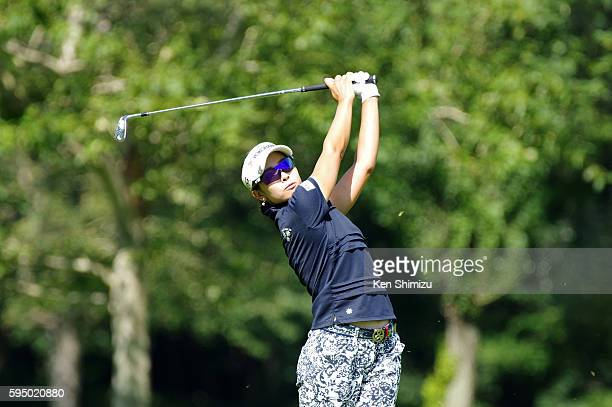 Rikako Morita of Japan hits her second shot on the 5th hole during the first round of the Nitori Ladies 2016 at the Otaru Country Club on August 25...