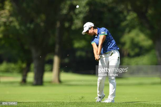 Rikako Morita of Japan hits her second shot on the 5th hole during the final round of the Nitori Ladies 2017 at the Otaru Country Club on August 27...