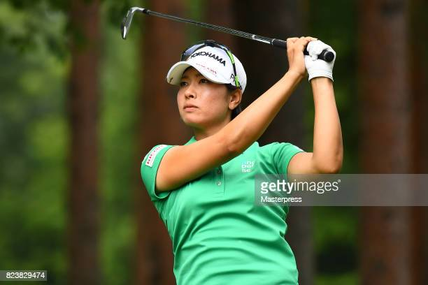 Rikako Morita of Japan hits her tee shot on the 12th hole during the second round of the Daito Kentaku Eheyanet Ladies 2017 at the Narusawa Golf Club...