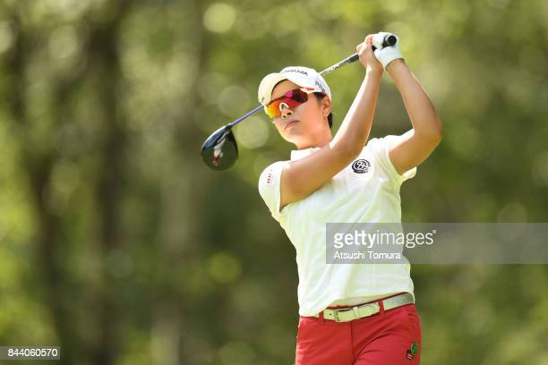 Rikako Morita of Japan hits her tee shot on the 12th hole during the second round of the 50th LPGA Championship Konica Minolta Cup 2017 at the Appi...