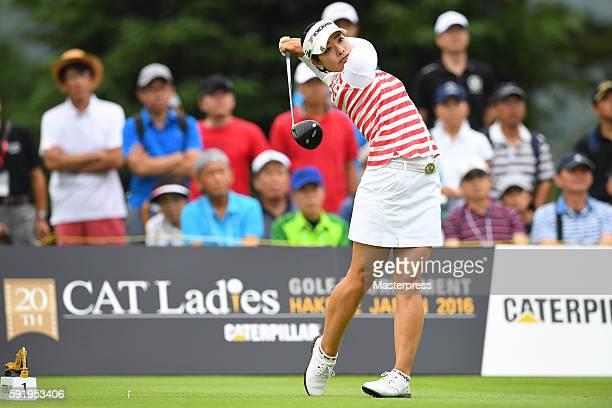 Rikako Morita of Japan hits her tee shot on the 1st hole during the first round of the CAT Ladies Golf Tournament HAKONE JAPAN 2016 at the Daihakone...