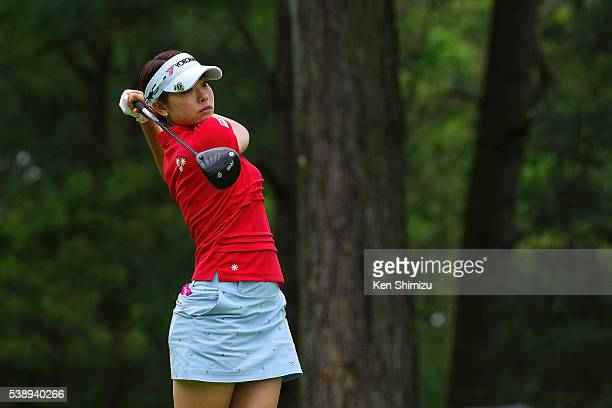 Rikako Morita of Japan hits her tee shot on the 2nd hole during the first round of the Suntory Ladies Open at the Rokko Kokusai Golf Club on June 9...