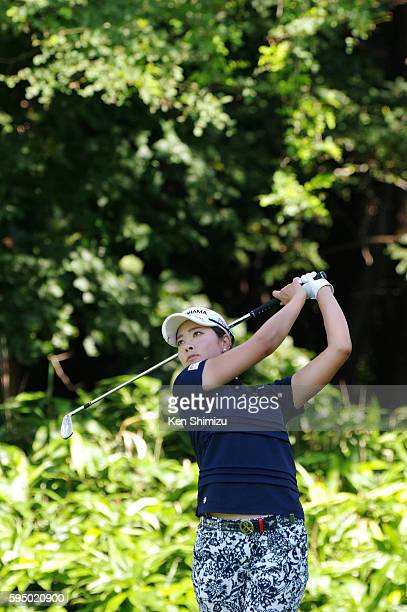 Rikako Morita of Japan hits her tee shot on the 4th hole during the first round of the Nitori Ladies 2016 at the Otaru Country Club on August 25 2016...