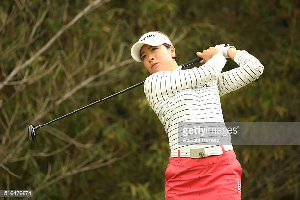 Rikako Morita of Japan hits her tee shot on the 5th hole during the second round of the TPoint Ladies Golf Tournament at the Wakagi Golf Club on...
