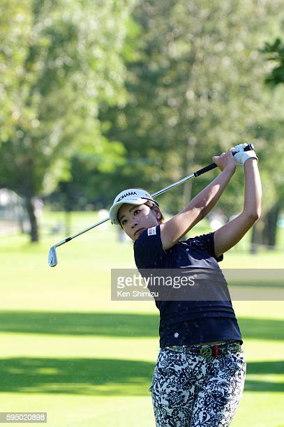 Rikako Morita of Japan hits second shot on the 1st hole during the first round of the Nitori Ladies 2016 at the Otaru Country Club on August 25 2016...