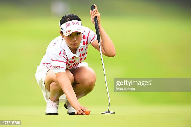 Rikako Morita of Japan lines up during the third round of the Earth Mondamin Cup at the Camellia Hills Country Club on June 27 2015 in Sodegaura Japan