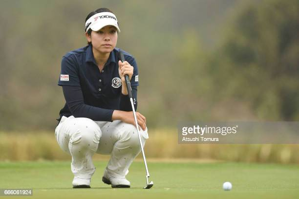 Rikako Morita of Japan lines up her putt on the 1st hole during the second round of the Studio Alice Open at the Hanayashiki Golf Club Yokawa Course...
