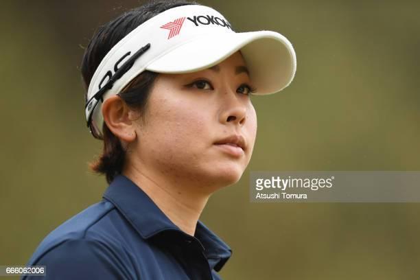 Rikako Morita of Japan looks on during the second round of the Studio Alice Open at the Hanayashiki Golf Club Yokawa Course on April 8 2017 in Miki...