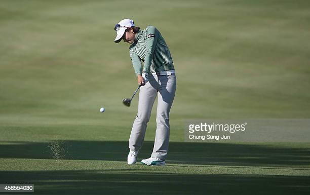 Rikako Morita of Japan plays a shot during the round one of the Mizuno Classic at Kintetsu Kashikojima Country Club on November 7 2014 in Shima Japan