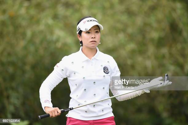 Rikako Morita of Japan prepares for her tee shot on the 4th hole during the final round of the Yonex Ladies Golf Tournament 2016 at the Yonex Country...