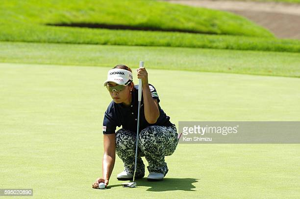 Rikako Morita of Japan putts on the 15th hole during the first round of the Nitori Ladies 2016 at the Otaru Country Club on August 25 2016 in Otaru...
