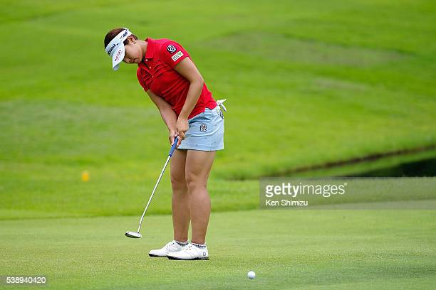 Rikako Morita of Japan putts on the 16th hole during the first round of the Suntory Ladies Open at the Rokko Kokusai Golf Club on June 9 2016 in Kobe...