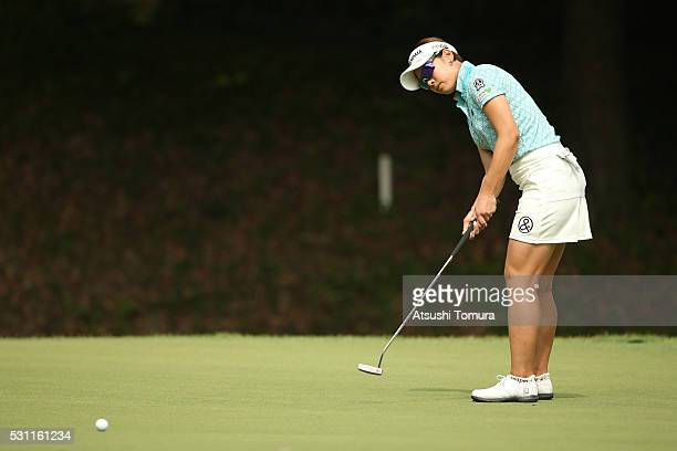 Rikako Morita of Japan putts on the 2nd green during the first round of the HokennoMadoguchi Ladies at the Fukuoka Country Club Ishino Course on May...