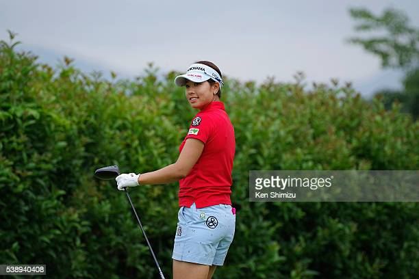 Rikako Morita of Japan reacts to her tee shot on the 14th hole during the first round of the Suntory Ladies Open at the Rokko Kokusai Golf Club on...