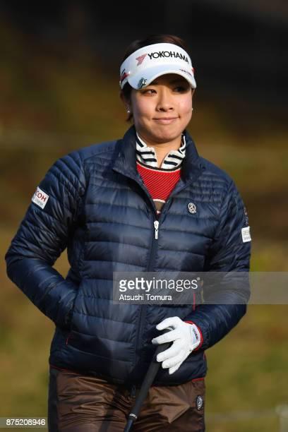 Rikako Morita of Japan smiles during the second round of the Daio Paper Elleair Ladies Open 2017 at the Elleair Golf Club on November 17 2017 in...
