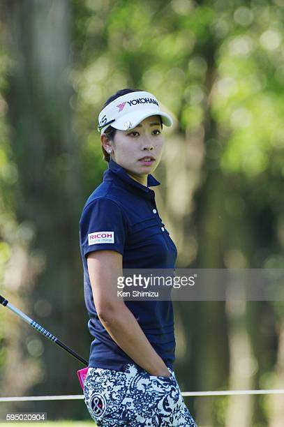 Rikako Morita of Japan stands on the tee ground of the 2nd hole during the first round of the Nitori Ladies 2016 at the Otaru Country Club on August...