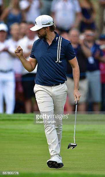 Rikard Karlberg of Sweden celebrates after holing a putt on the 9th hole during the second round on day two of the Nordea Masters at Bro Hof Slott...