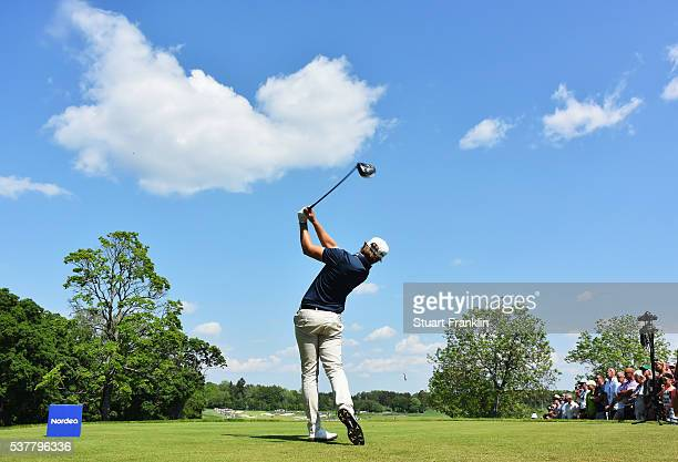 Rikard Karlberg of Sweden plays a shot during the second round of the Nordea Masters at Bro Hof Slott Golf Club on June 3, 2016 in Stockholm, Sweden.