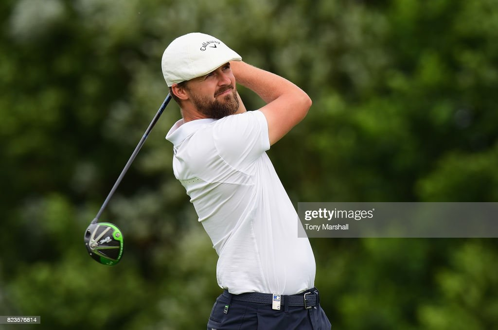 Rikard Karlberg of Sweden plays his first shot on the 13th tee during the Porsche European Open - Day One at Green Eagle Golf Course on July 27, 2017 in Hamburg, Germany.