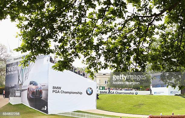 Rikard Karlberg of Sweden tees off on the 1st hole during day three of the BMW PGA Championship at Wentworth on May 28 2016 in Virginia Water England