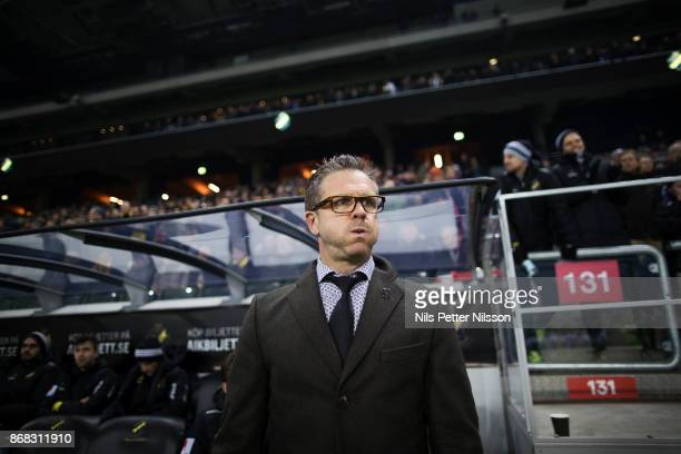 Rikard Norling head coach of AIK during the Allsvenskan match between AIK and IFK Goteborg at Friends arena on October 30 2017 in Solna Sweden