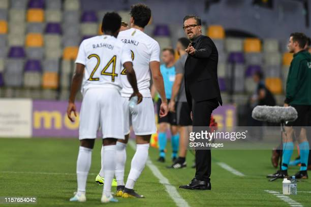 Rikard Norling, head coach of AIK reacts during the Second qualifying round of the UEFA Champions League between NK Maribor and AIK Football at the...