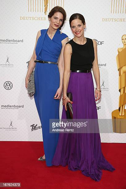Rike Schmid and Anja Knauer arrive for the Lola German Film Award 2013 at FriedrichstadtPalast on April 26 2013 in Berlin Germany
