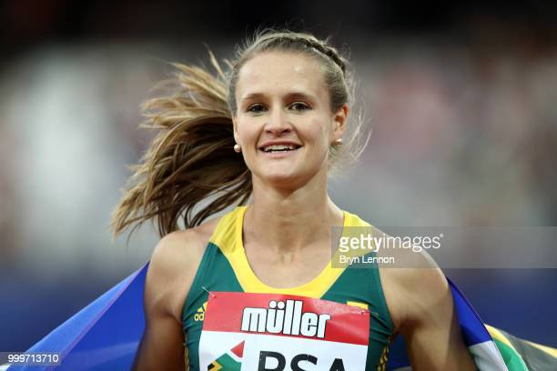 Rikenette Steenkamp of South Africa celebrates winning the Women's 100m Hurdles during day two of the Athletics World Cup London at the London...