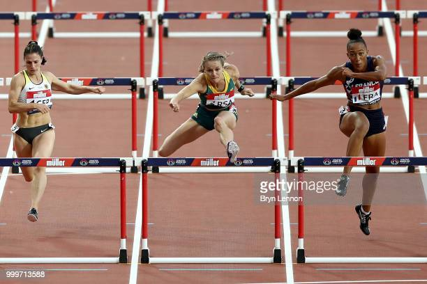 Rikenette Steenkamp of South Africa in action during the Women's 100m Hurdles during day two of the Athletics World Cup London at the London Stadium...