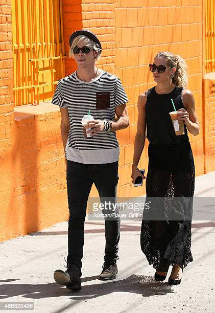 Riker Lynch and Allison Holker are seen in Hollywood on April 01, 2015 in Los Angeles, California.