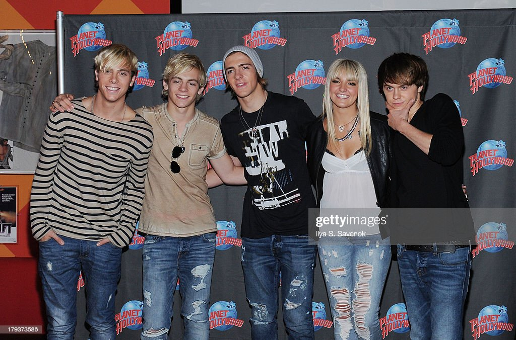 Riker Lynch, Ross Lynch, Rocky Lynch, Rydel Lynch and Ellington Ratliff of the band R5 visit Planet Hollywood Times Square on September 2, 2013 in New York City.