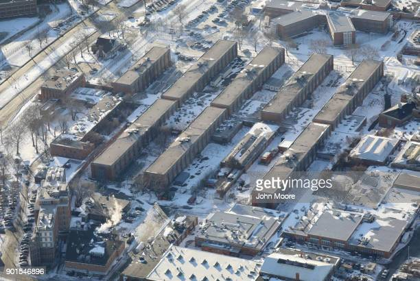 Rikers Island jail complex stands under a blanket of snow on January 5 2018 in the Bronx borough of New York City Under frigid temperatures New York...