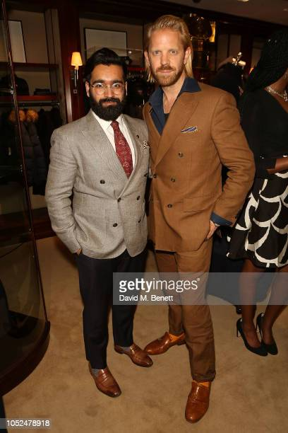 Rikesh Chauhan and Alistair Guy attend an anniversary party celebrating 50 years of Ralph Lauren and 10 years of The Rake on October 18 2018 in...