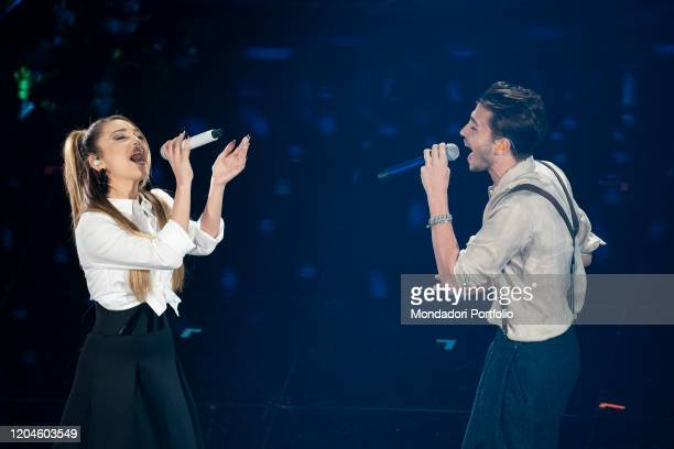 Riki, Ana Mena at the third evening of the 70 Sanremo Music Festival. Sanremo , February 6th, 2020