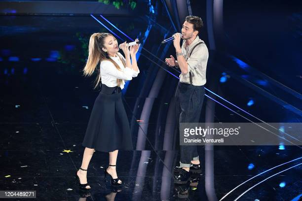 Riki and Ana Mena attend the 70° Festival di Sanremo at Teatro Ariston on February 06, 2020 in Sanremo, Italy.