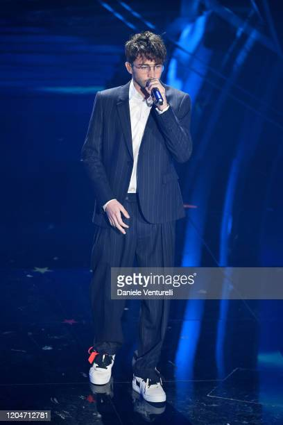 Riki attends the 70° Festival di Sanremo at Teatro Ariston on February 07, 2020 in Sanremo, Italy.