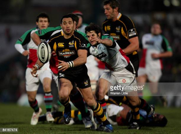 Riki Flutey of London Wasps in action during the Guinness Premiership match between London Wasps and Harlequins at Adams Park on January 4 2009 in...