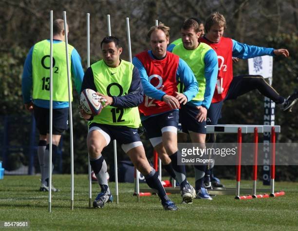 Riki Flutey runs through the slalom poles during the England training session held at Pennyhill Park Hotel on March 18 2009 in Bagshot England