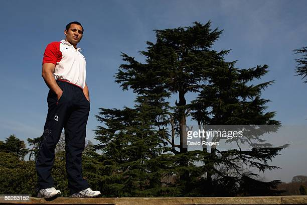 Riki Flutey the England centre poses at Pennyhill Park Hotel on March 18 2009 in Bagshot England
