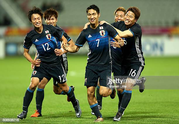 Riki Harakawa of Japan celebrates scoring the winning goal during the AFC U23 Championship semi final match between Japan and Iraq at the Abdullah...