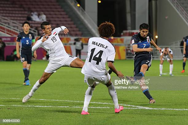 Riki Harakawa of Japan scores a goal to make it 21 during the AFC U23 Championship semi final match between Japan and Iraq at the Abdullah Bin...