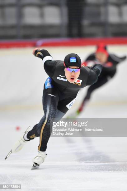 Riki Hayashi of Japan performs during the Men 1500 Meter at the ISU ISU Junior World Cup Speed Skating at Max Aicher Arena on November 26 2017 in...