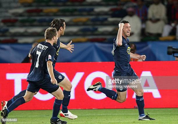 Riki Van Steeden of New Zealand's Auckland FC celebrates with his teammates after scoring the winning goal against Congo's TP Mazembe during their...