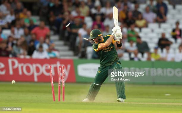 Riki Wessels Nottinghamshire is bowled by Chris Rushworth during the Vitality Blast match between Nottinghamshire Outlaws and Durham Jets at Trent...